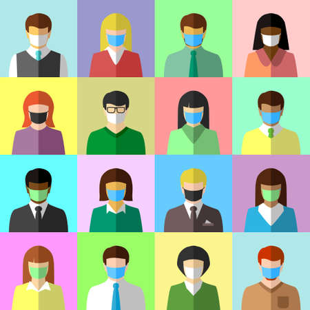 Collage of ethnically diverse people wearing face masks. Diversity, COVID-19, pandemic and face mask concept. Flat design, icon set.