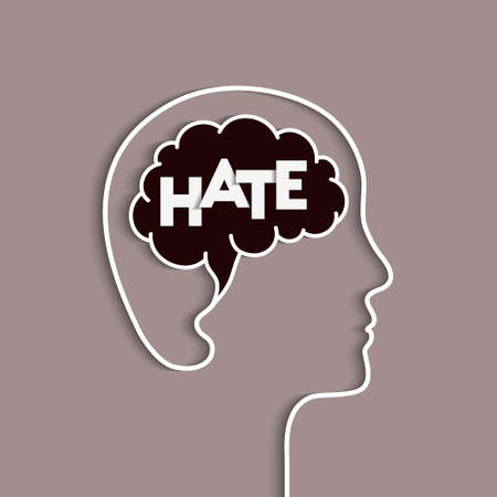 Hate concept with person, human head and brain silhouette. Hatred, hateful emotion and mind symbol. Word lettering typography.