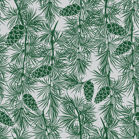Green Pine Tree Wall Drawing Seamless Pattern on Grey. Detailed Design for Giftwrap, Backdrop, Wallpaper