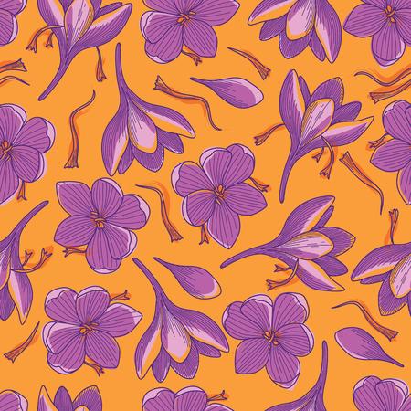 Flores de azafrán púrpura e hilos de azafrán rojo dibujo lineal de patrones sin fisuras sobre fondo naranja