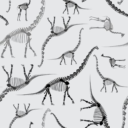 Dinosaur Skeleton Handdrawn Seamless Pattern in Greys Illusztráció