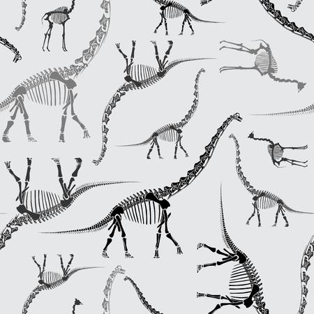Handgezeichnetes nahtloses Muster des Dinosaurierskeletts in Grautönen