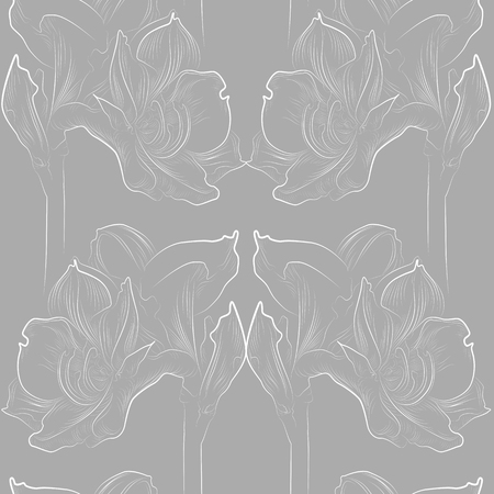 Delicate amaryllis seamless pattern in grey and white