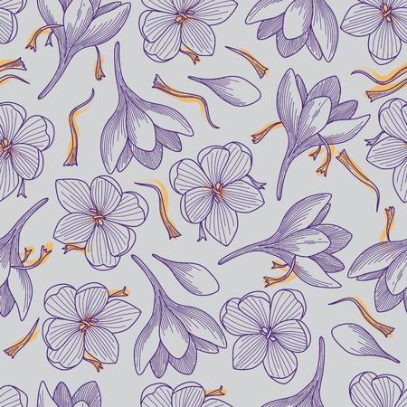 Fleurs de crocus pourpres détaillées et dessin au trait safran modèle sans couture sur fond gris