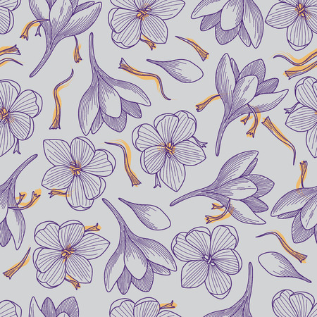 Detailed Purple Crocus Flowers and Saffron Line Drawing Seamless Pattern on Grey Background