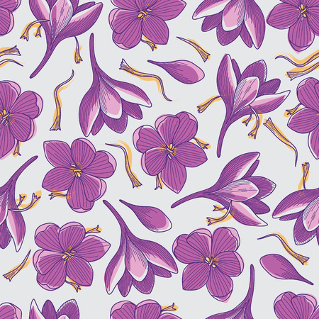 Purple Crocus Flowers and Orange Saffron Threads Line Drawing Seamless Pattern on Grey Background