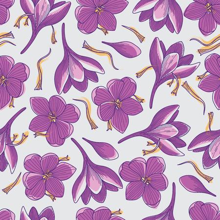 Purple Crocus Flowers and Orange Saffron Threads Line Drawing Seamless Pattern on Grey Background