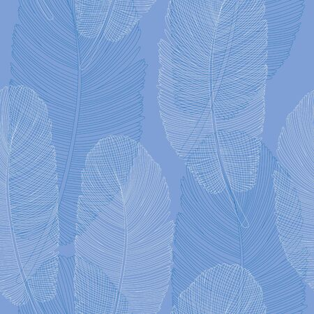 Blue and White Overlapping Feathers Pattern Line Drawing