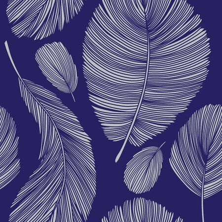 Detailed Grey Feathers Seamless Pattern on Blue