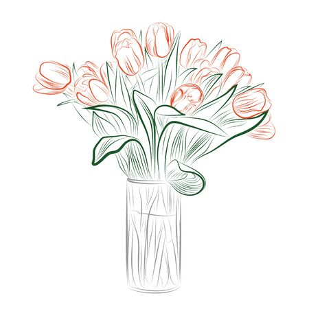 Delicate Line Drawing of Vase Full of Tulips