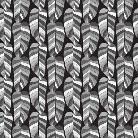 Leaf Seamless Pattern in Greys on Black Background Illustration