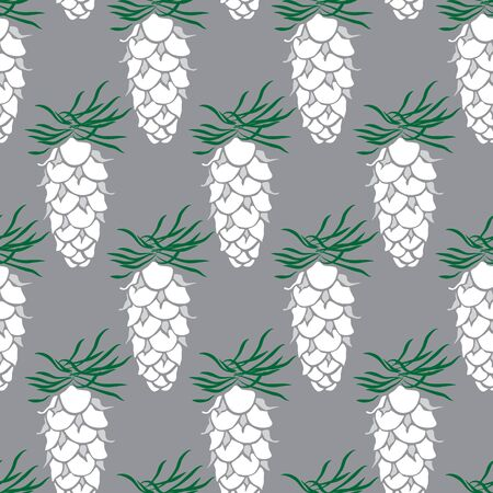 White Pine Cone Drawing Seamless Pattern on Grey for Giftwrap, Backdrop, Wallpaper Illustration