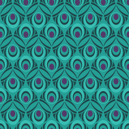 Multi Colored Peacock Feather Seamless Pattern for Giftwrap, Backdrop, Wallpaper