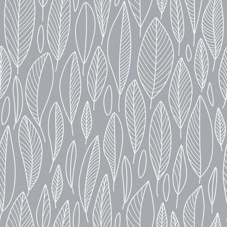 Line Leaf Seamless Pattern in Grey Abstract Nature Design