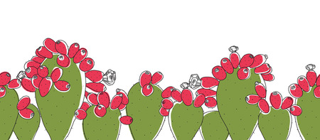 Pink and Green Opuntia Cactus Plant Line Drawing Seamless Border