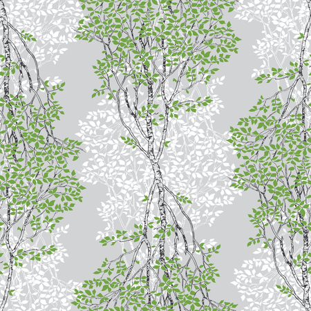 Green Birch Trees Decorative Drawing Seamless Pattern on Grey background