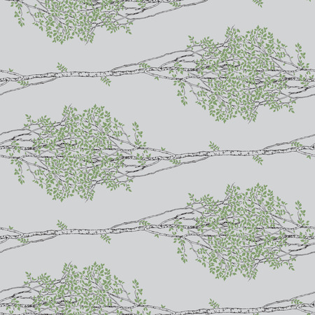 Endless Green Birch Trees Drawing Seamless Pattern on Grey Background