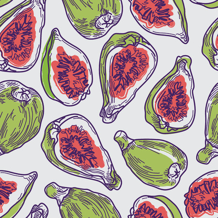 Colorful Artistic Fig Line Drawing Seamless Pattern on Grey Background. Fruit Design