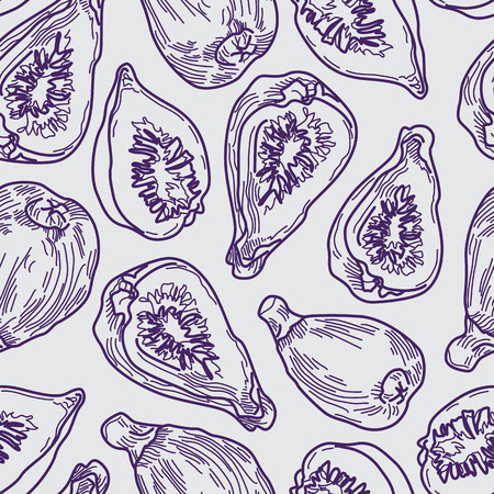 Artistic Fig Purple Line Drawing Seamless Pattern on Grey Background. Hand-drawn Fruit Design