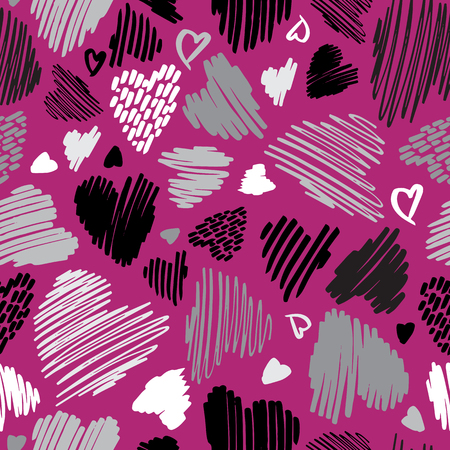 Abstract Hand Drawn Line Hearts Valentines Day Seamless Pattern on Magenta Pink
