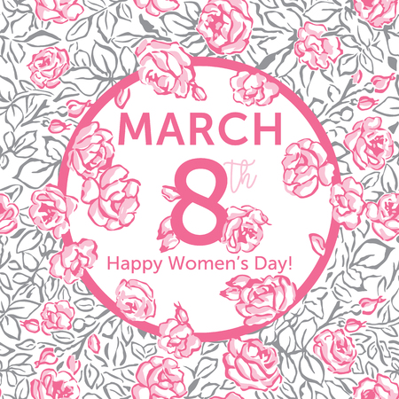 Womens Day Greeting Card. Pattern with Pink Roses. 8th March