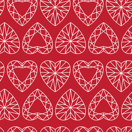 Graphic White Heart Shaped Diamond Seamless Pattern on Red Illustration