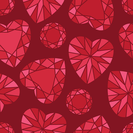 Romantic Red Heart and Round Shaped Diamond Seamless Pattern on Red