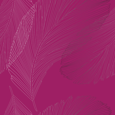 Detailed Gradient Feather Seamless Pattern on Magenta Pink