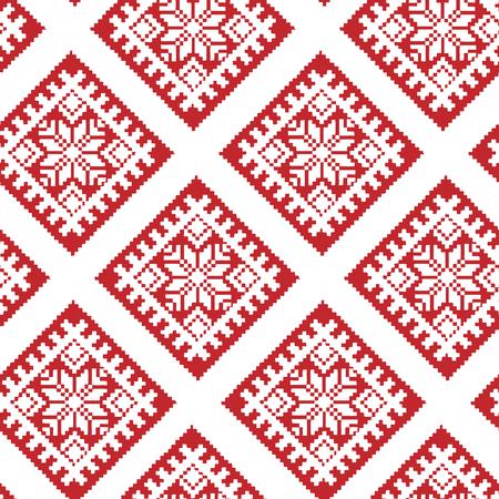 Ornement traditionnel letton ethnique en rouge et blanc. Modèle sans couture de Noël en mosaïque