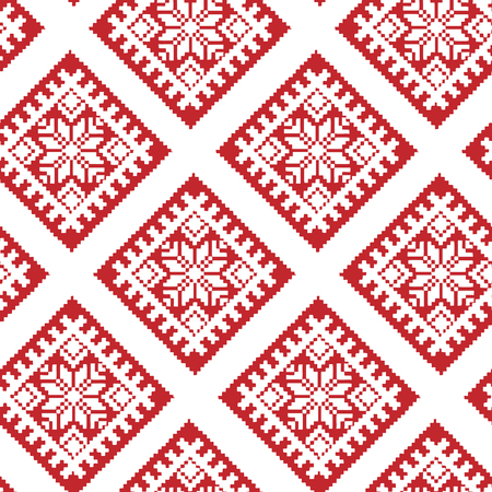 Traditional Ethnic Latvian Ornament in Red and White. Tiled Christmas Seamless Pattern