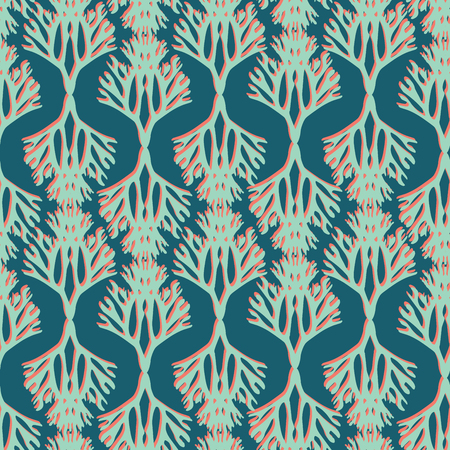Colorful Duotone Coral Silhouette Seamless Pattern on Green