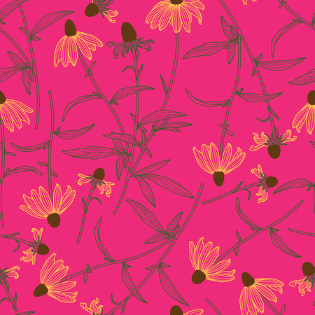 Line Drawing Colorful Rudbeckia Flowers Line Drawing Seamless Pattern on Pink Background Standard-Bild - 124652096