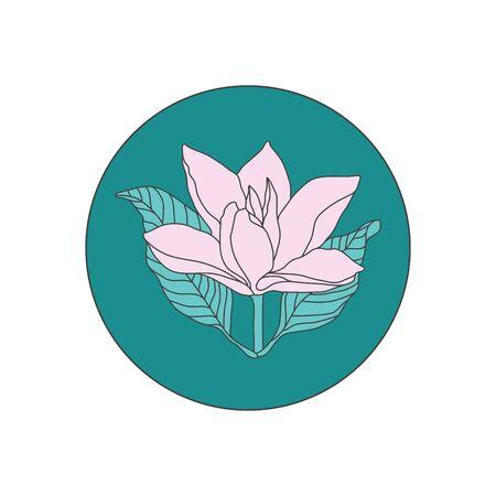 Isolated Magnolia Line Illustration on Green Circle. Flower Logo Design Illustration