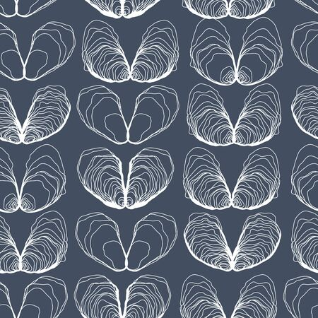Oyster Hearts Seamless Line Pattern on Blue. Oyster Love