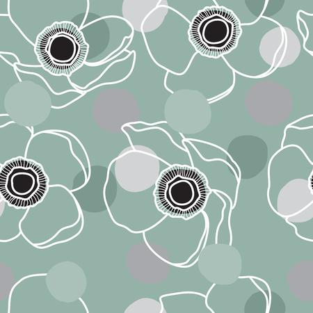 Fun Confetti Anemone Flower Line Pattern on Mint Illustration