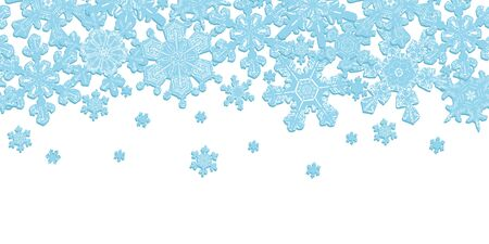 Frosted Window Seamless Border with Detailed Snowflakes. Light Blue on White Illustration