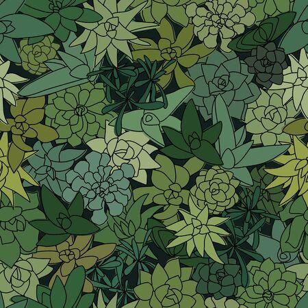 Green Succulent Wall top-view Seamless Pattern. Greenery Wallpaper Design