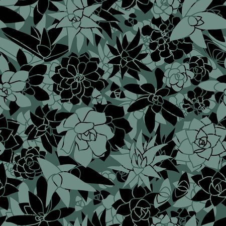Modern and Unique Succulent Wall Seamless Pattern in Mint and Black Greenery Wallpaper Design Illustration