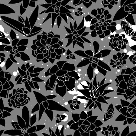 Modern and Unique Mono Succulent Wall Seamless Pattern in Black, Grey and white splashes of color