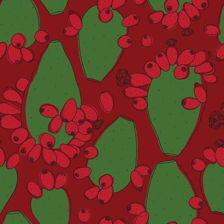 Christmas Edition Opuntia Cactus Plant Line Seamless Pattern on Red Background