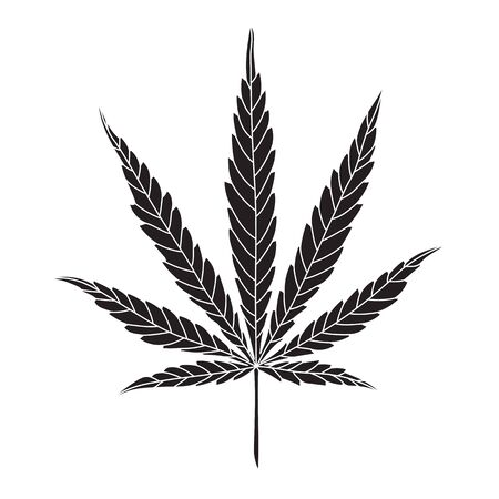 Simple Hemp Leaf Vector Drawing isolated on White Background. CBD, Cannabis logo