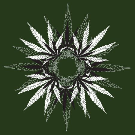 Detailed Hemp Leaf Mandala Wreath on Green Background. Vector Line Cannabis Leaves Drawing and Silhouettes Illustration