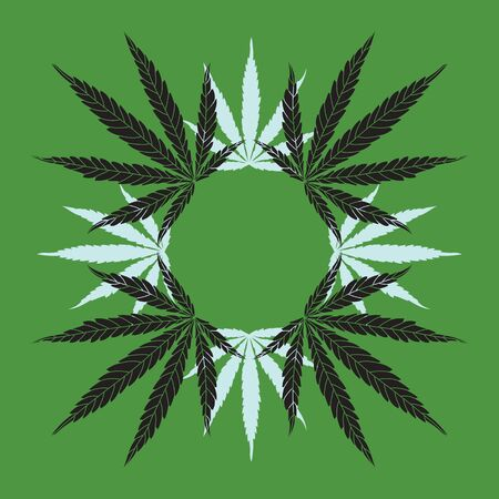 Hemp Leaf Mandala Wreath on Green Background. Vector Line Cannabis Leaves Drawing and Silhouettes Illustration