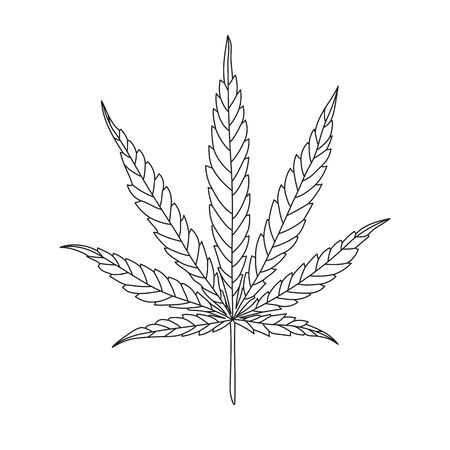 Hemp Leaf Line Drawing isolated on White Background. CBD, Cannabis design logo Illustration