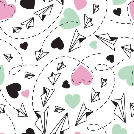 Valentines Flying Paper Planes and Hearts Seamless Pattern on White Background Illustration