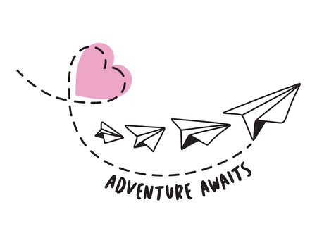 Adventure Awaits. Valentines Paper Plane and Heart Design on White Background
