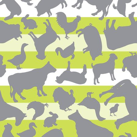 Farm Animals Silhouette Vector Design Seamless Pattern on Green and White Stripes Illustration