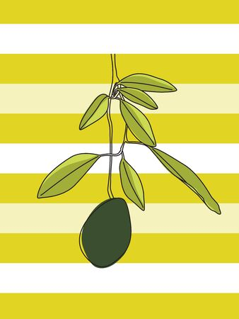 Artistic and Colorful Avocado Branch Vector Design on White and Green Striped Background