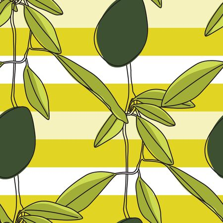 Artistic Vector Green Avocado Branches Seamless Pattern on Striped Background