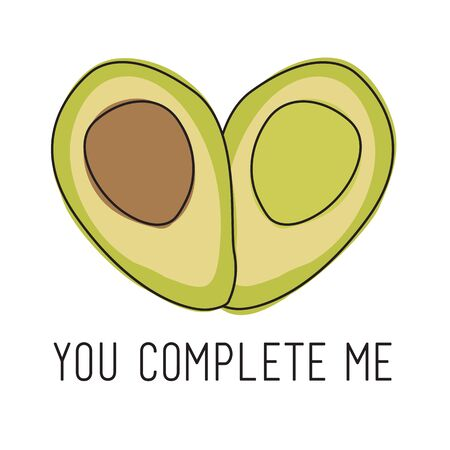 Artistic Vector Avocado YOU COMPLETE ME Design on White Background